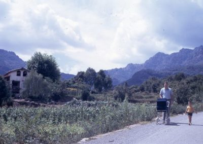 1970: Walking through La Garrotxa with my sons Albert and Josep
