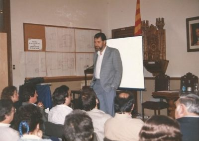 1987: At the School of Fine Arts in Sant Joan les Fonts, talking about fractals